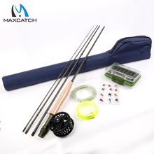 High Quality 5WT Fly Rod &Fly Reel Combo 9FT Fly Fishing Rod  Line Backing Flies  Box Loop Tapered Leader Fishing Outfit