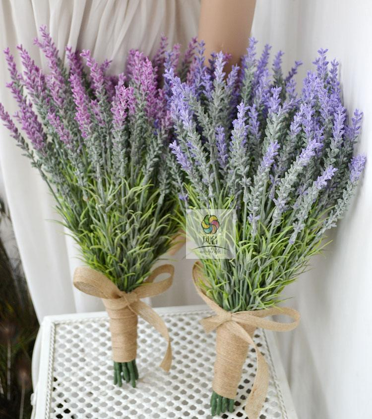 2016 New Style High Quality Hand Made Artificial Lavender Flower Wedding Bridal Bridesmaid Bouquet Home Decoration(China (Mainland))