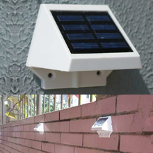 4 LED Solar Powered Fence Gutter Light Outdoor Garden Yard Wall Pathway Lamp White(China (Mainland))