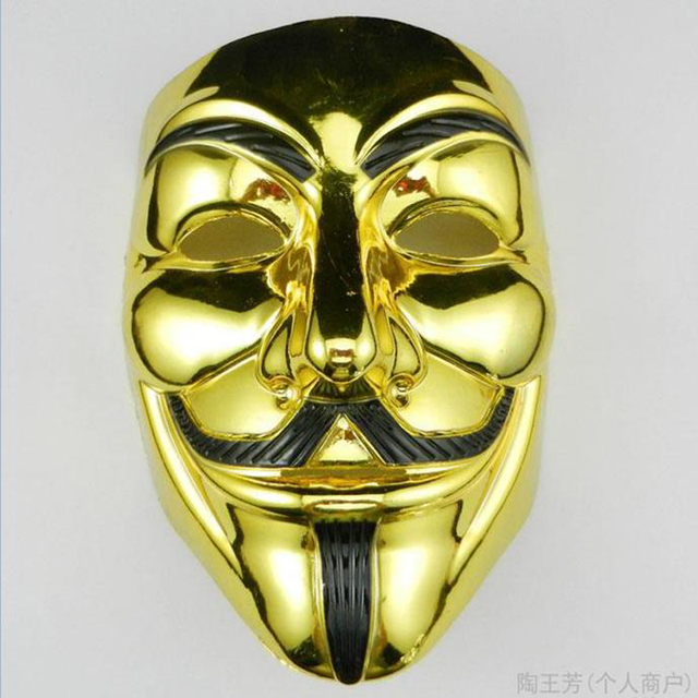 Gold/Silver Halloween Masks V For Vendetta Anonymous Movie Guy Fawkes Mask