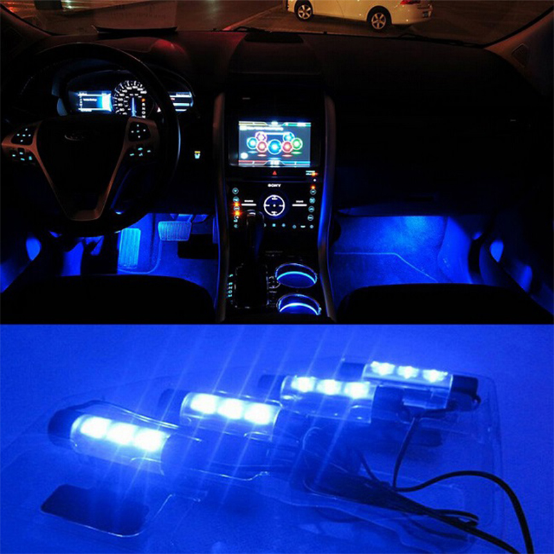 High Quality Blue 4in1 12V 4x 3LED car Interior light Decorative Atmosphere Lights Car Styling Lamp For Ford Focus 2(China (Mainland))