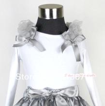 White Long Sleeves Top with Grey Ruffles & Grey Bow MAT280(Hong Kong)