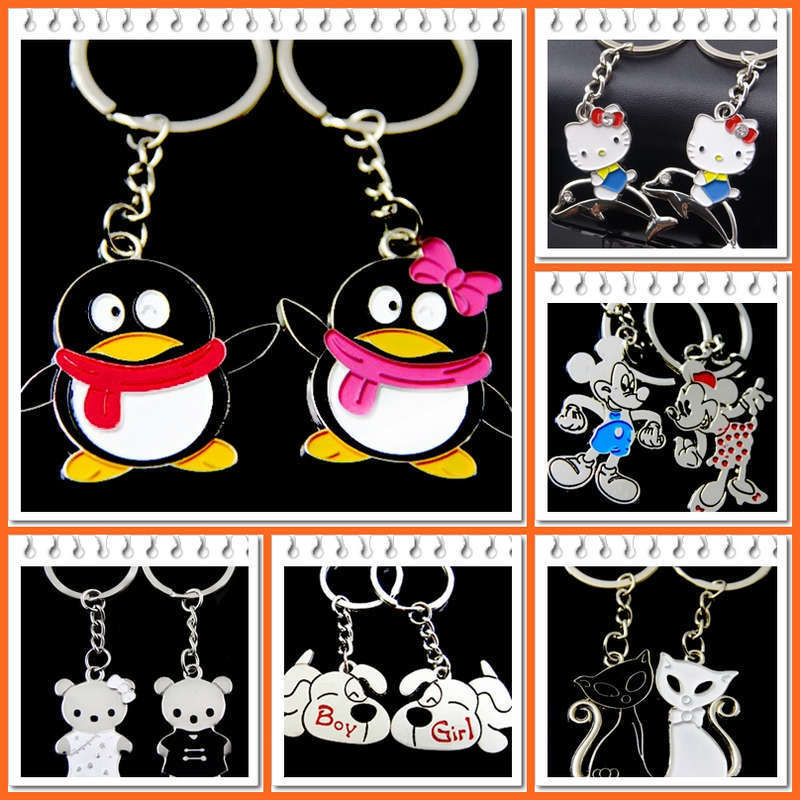 2015 Novelty llaveros Couple Keychain Lovers Anime Key chain Chaveiros Key ring Men Jewelry Souvenirs Accessory Gift Valentines(China (Mainland))