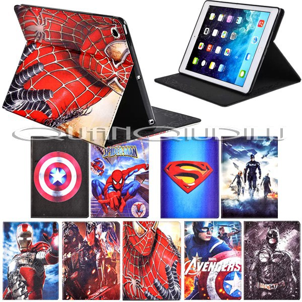 lPad 5 Pad Air Case Spider-Man superman Captain America Avengers Iron Man Batman Folding cover Magnetic - quanqiudilu store