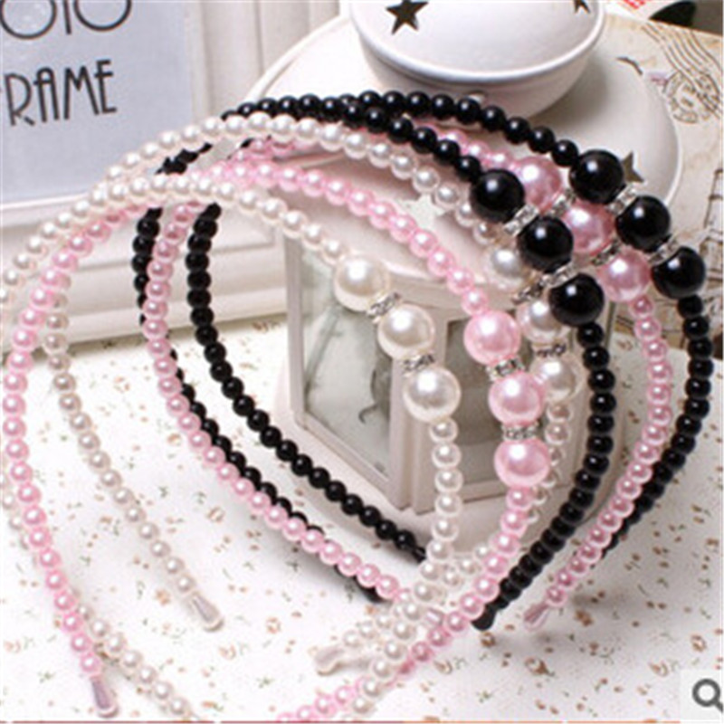 The latest explosion paragraph 2015 Europe-wide crystal hand-beaded pearl hair hoop headband(China (Mainland))