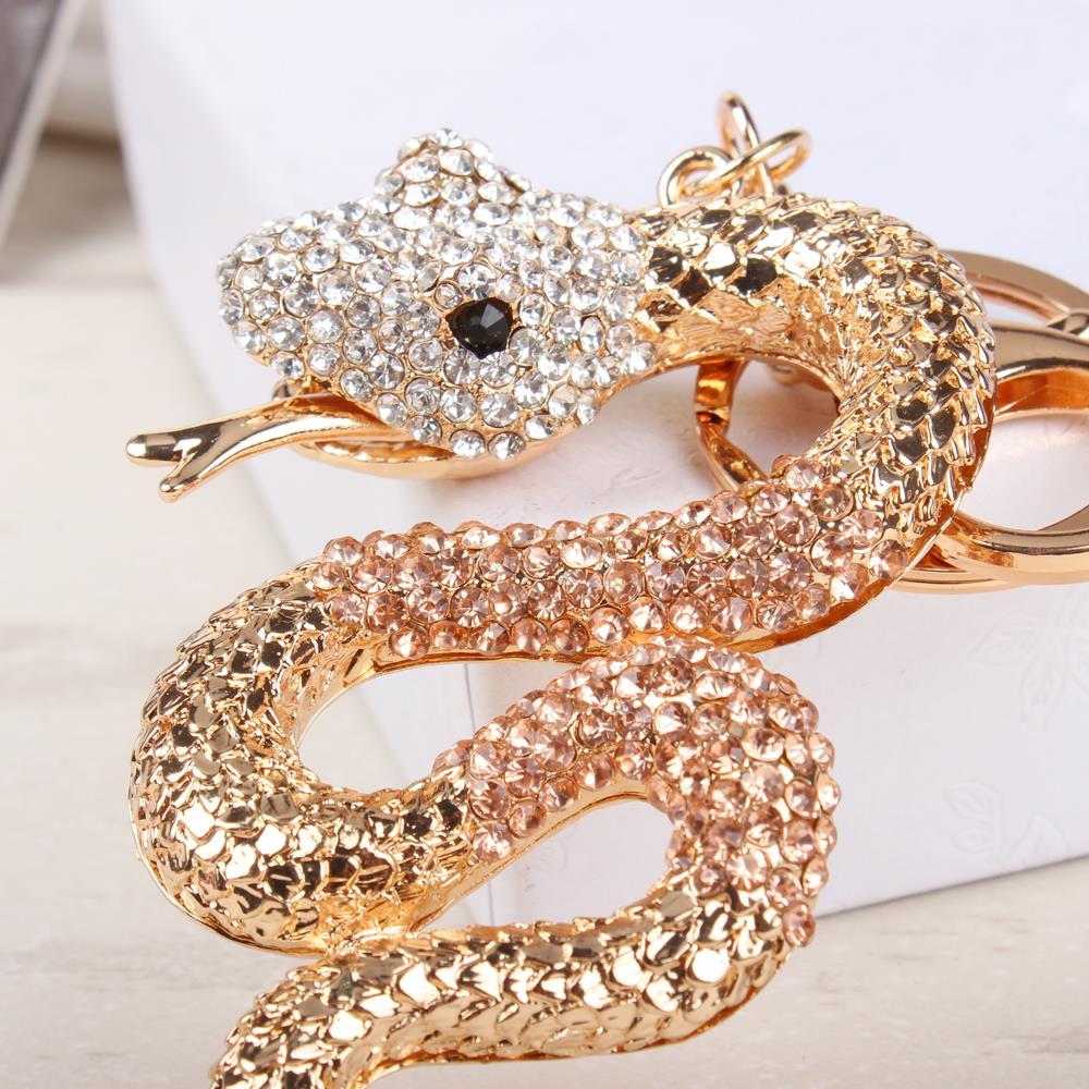 New Arrival Cobra Snake Cute Crystal Charm Pendant Purse HandBag Car Key Ring Chain Wedding Party Jewelry Lucky Gift(China (Mainland))