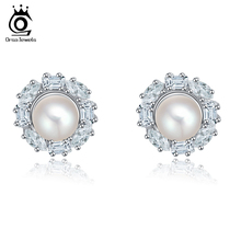 ORSA Luxury Clear Cubic Zircon Paved Wedding Pearl Earrings For Brides&Women OME08(China (Mainland))