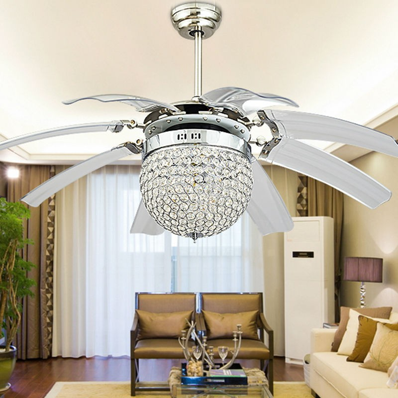 wholesale 42inch led crystal ceiling fan lamp remote control