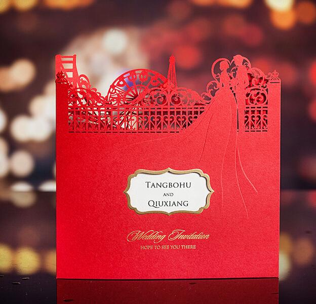 100 unids/lote Vintage estilo chino Tradtional castillo rojo invitaciones de boda con Laser cut