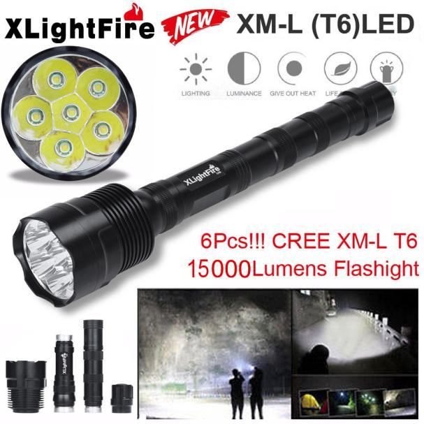 Lovely Pets  Tactical 15000 Lumen 6 x XML T6 LED Flashlight Torch Light 5 Modes 18650 Hunting Oct106