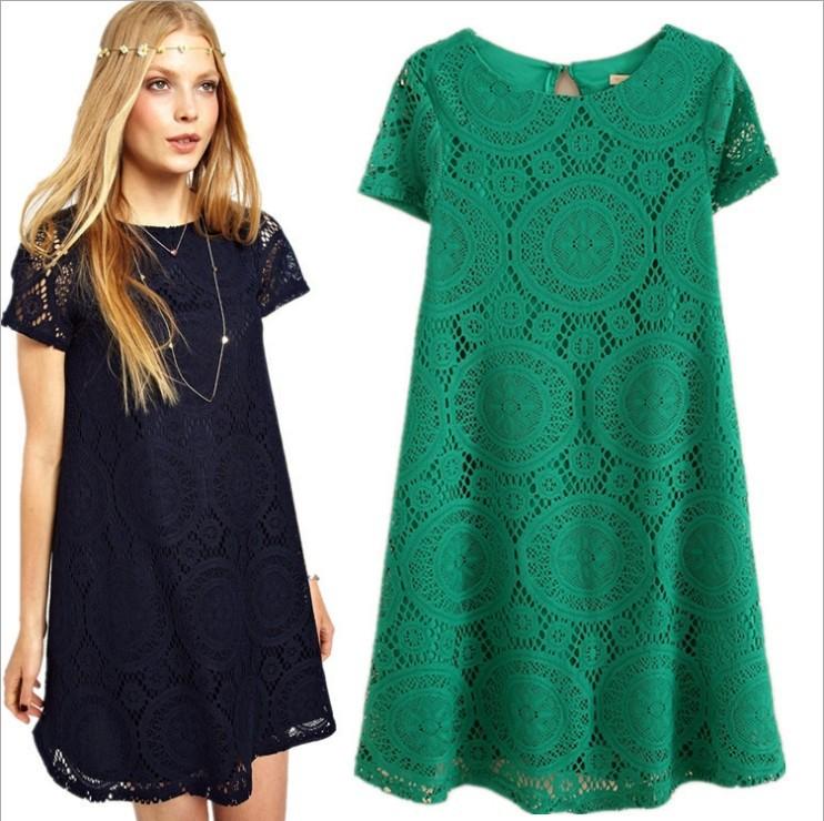 2015 Spring Summer Women New Fashion Vintage Bohemian Lace Dress Plus Size Dress Party Evening Elegant bottoming dress(China (Mainland))