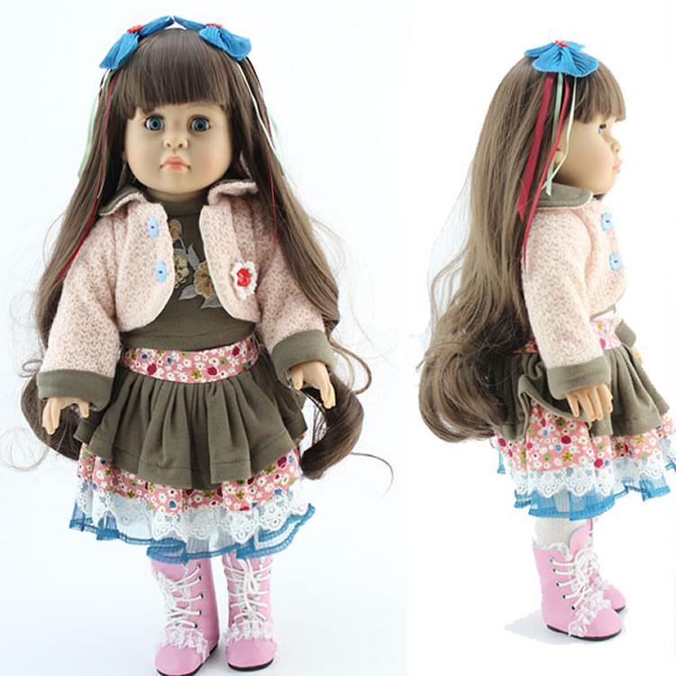 18'' 45CM GIRL doll Brown Long hair Cute Clothes set Reborn handmade vinyl american baby girls gift - SunnyToysCity Store store