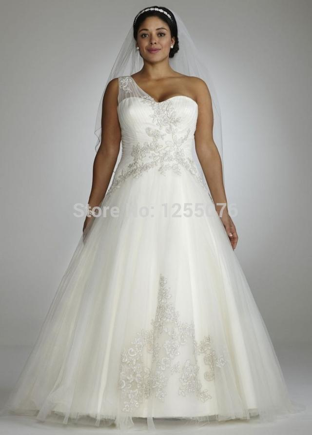 2014 Sexy White Plus Size Wedding Dresses One Shoulder Tulle Applique Beaded