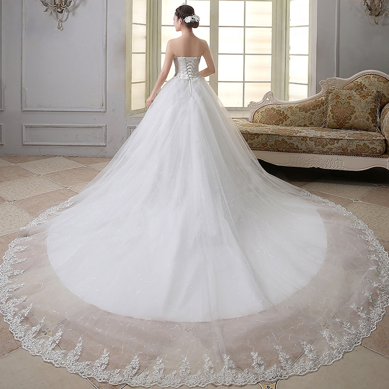 Wedding dresses with long trains and sleeves junoir for Wedding dress long train