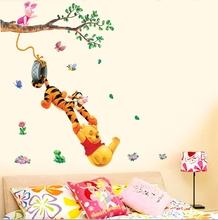 Hot Selling Trees And Bear Wall Sticker Cartoon Nursery Daycare Baby Room Decor Free Shipping TC1067