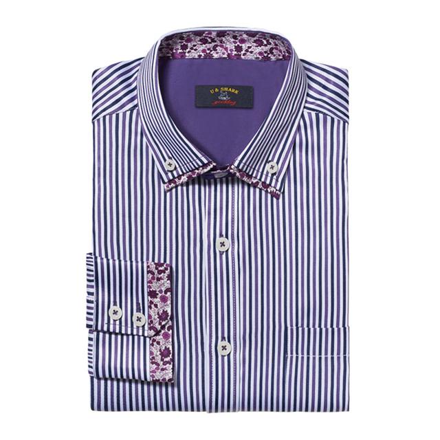 2016 весной новый полосатый мужчины рубашки с длинным рукавом цветочные печать двойной ...