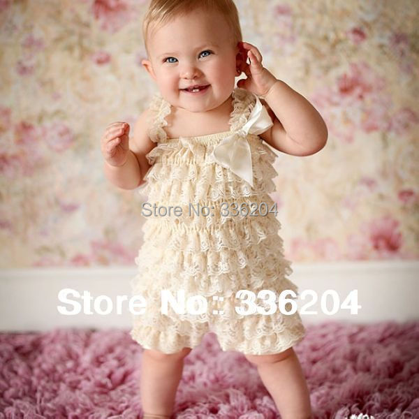 Cute Petti Baby Girl Lace Romper with Straps and Ribbon Bow Jumpsuit Infant 31 Colors Free Shipping(China (Mainland))