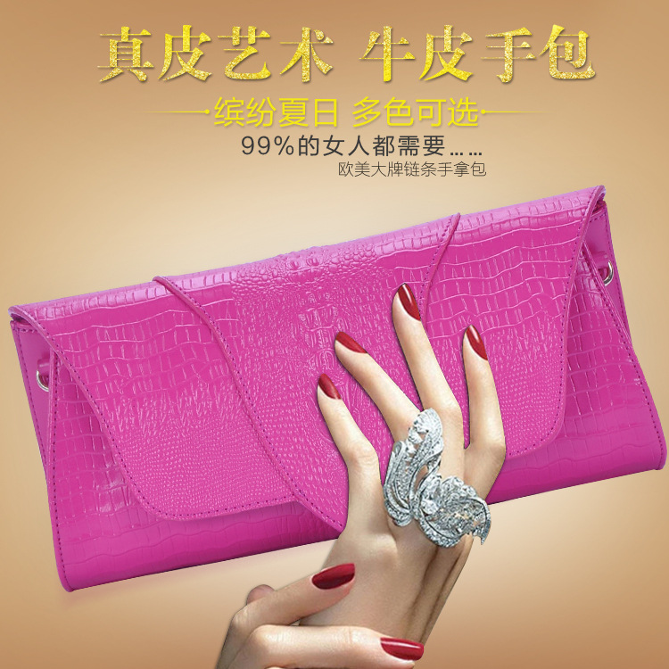 Crocodile pattern Europe and America summer 2015 new ladies leather clutch bag leather women shoulder bag brand bags(China (Mainland))