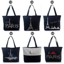 Hot Selling 2015 Fashion Black Women Girls PARIS Towels Handbag Shoulder Bags Tote Bags Canvas Hobo Bags Free Shipping #LN