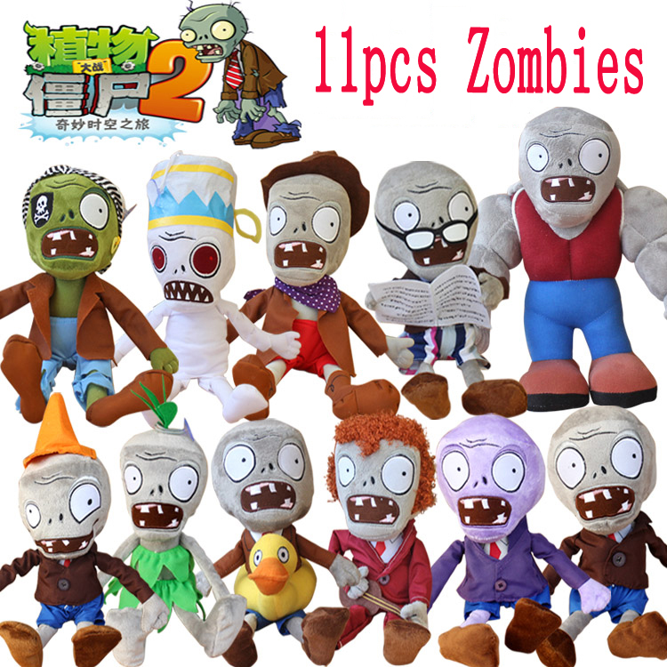 11pcs/lot Games Plants vs Zombies Plush Toys Soft Stuffed Toys Plant VS Zombies 2 30cm Zombies Plush Doll for Kids Party Toys(China (Mainland))