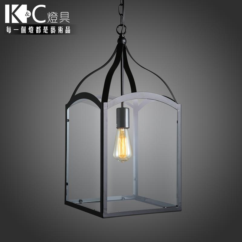 [KC] American iron lamp glass lamp black glass box Edison outdoor corridor chandelier vintage chandelier(China (Mainland))