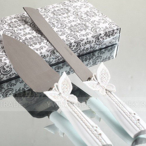 Buy 1 set Lovely western-style Butterfly decor Wedding Cake Knife + shovel with gift box Wedding Party supplies gift for bride groom cheap