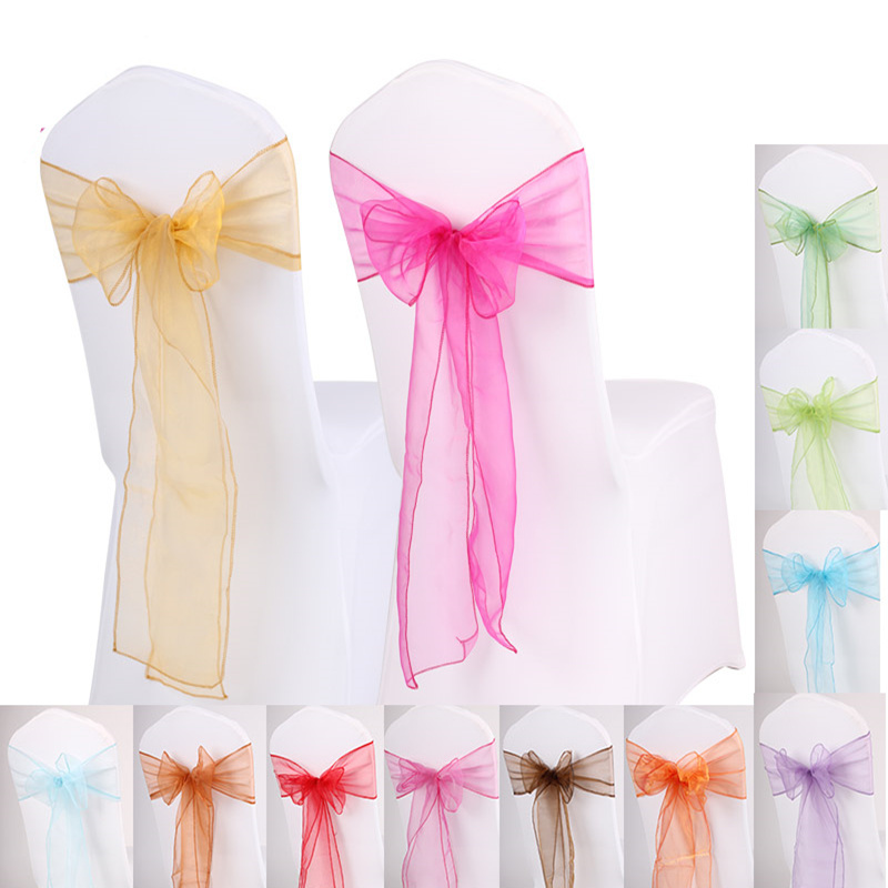 50pcs DIY Wedding Chair Covers Sashes Bow Butterfly Ribbon