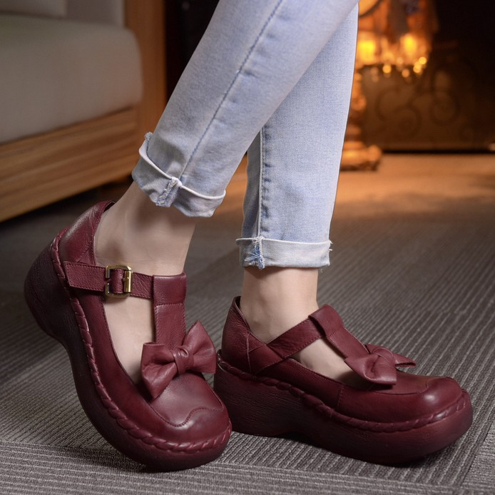Genuine leather vintage women's shoes lyrate bow round toe shoes platform wedges platform shoes preppy style shoes free shipping