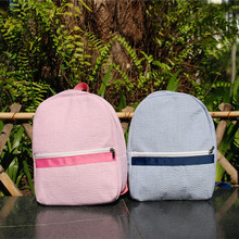 Seersucker kids backpack with pink & navy blue color