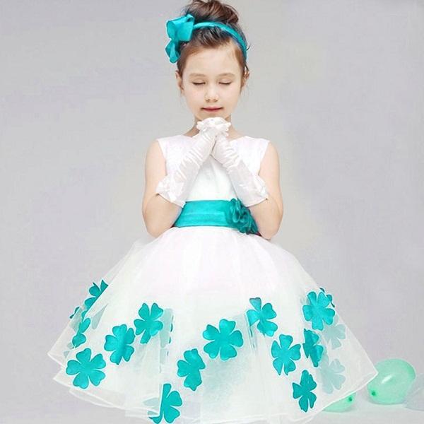 Elegant Baby Girls Birthday Gift White Flower Party Dress Cute Bow Infant Princess Kids Wedding Dress Girls Bridesmaid Clothing(China (Mainland))