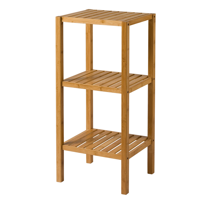 Allstate simple modern three-shelf storage rack storage rack wood bamboo floor bathroom Special 3047(China (Mainland))