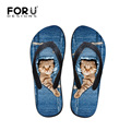 Designer Summer Style Female Beach Slipper Jeans Lovely Cat Print Beach Flip Flops Casual Women Girls