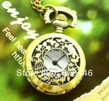 Steampunk elegante regalo mujeres cuarzo reloj de bolsillo pequeño código jaula de bronce color joyería nostálgica collar envío gratis