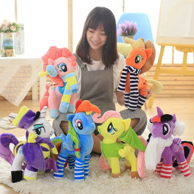 New 36cm to 40cm Cute Lovely Little Horse Plush Toy MLP Nightmare Moon Luna Rainbow Dash Action Doll Classical Children Present(China (Mainland))