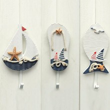 New Wall Hooks Mediterranean Style Anchors Fish Slipper Boat Shaped Living Room Hanging Decoration Nautical Decor(China (Mainland))