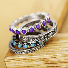 Fashion vintage accessories purple gorgeous luxury vintage ring set of ring