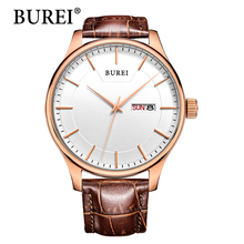 Real BUREI Men Watch Day And Date Display Male Clock New Big Dial White Lens Black Leather Strap Quartz Wristwatch Hot Sale(China (Mainland))