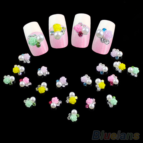 10pcs Rose Flower Pearl Crystal nail art stickers decals Studs Rhinestone Manicure Tips 1L61(China (Mainland))