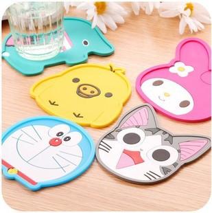 Set Of 6 Silicone Cute Cartoon Cup Mats Hello Kitty Mug Coasters Pad Kitchen Table Accessories Supplies(China (Mainland))