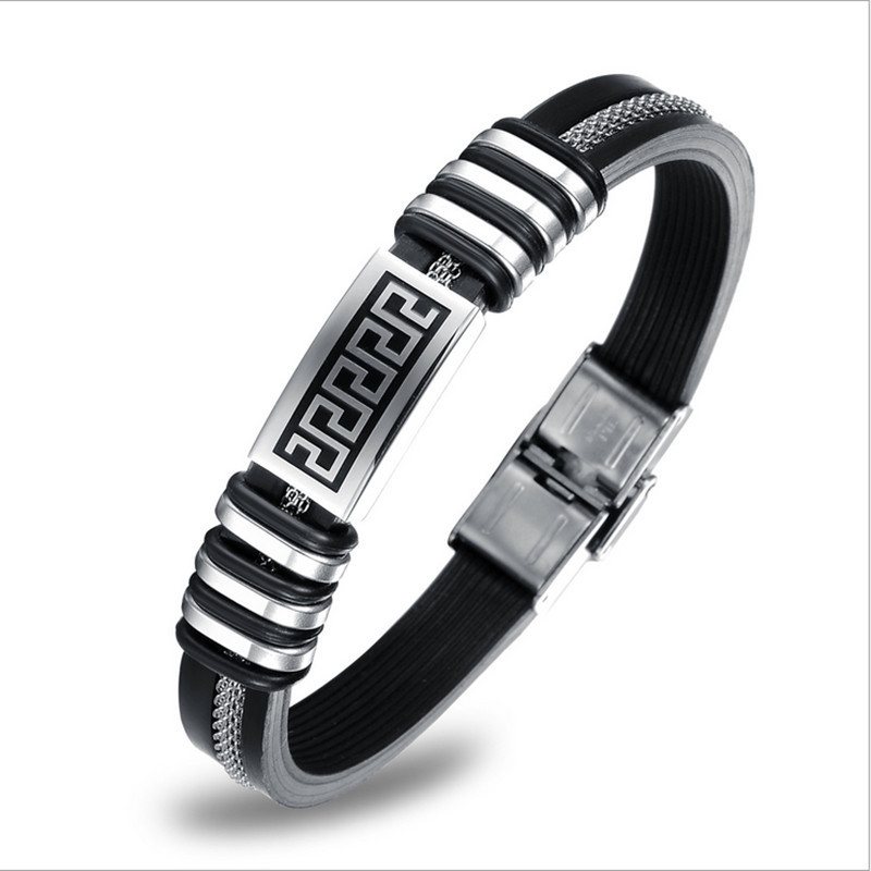 Cool Stainless Steel Men's Bracelets Round Geniuine Silicone Bracelets&bangles Trendy Fashion Jewelry Gift Ph888  -  Coolcastle store