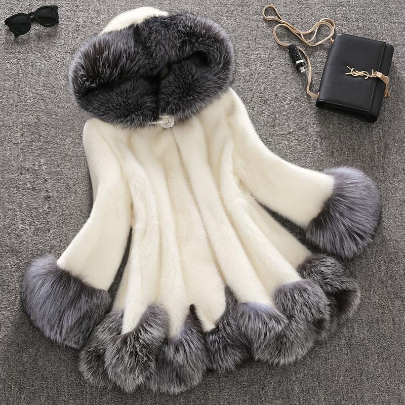 wave sweep hooded medium-long womens real mink overcoat fur coat piel mujer jacket abrigos de piel mujer  fur vest Одежда и ак�е��уары<br><br><br>Aliexpress