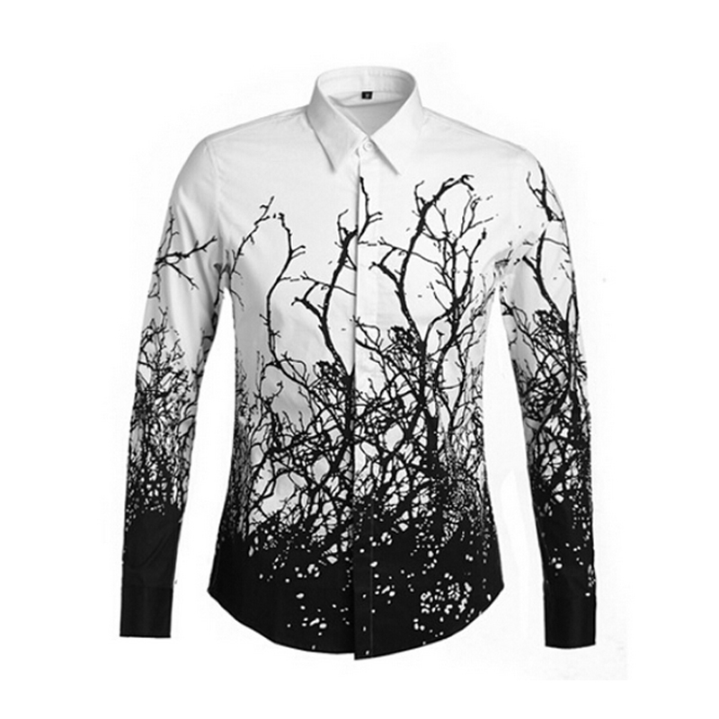 Fashion brand men floral male shirts 2015 mens printed for Mens printed long sleeve shirts