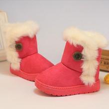Niños Botas 2016 Niños Botas de Invierno Gruesos Zapatos Calientes de Algodón Acolchado Suede Hebilla Botas Niñas Niños Botas de Nieve Zapatos de los niños(China (Mainland))