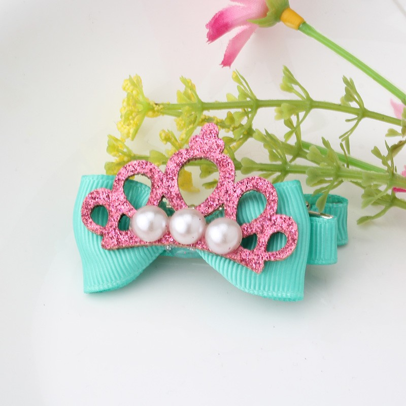 Cute Style Hair Accessory New Pattern Glitter Pearl Baby Accessories Girl Hollow Crown Hairpin Kids Barrette Tiara Bow Hair Clip