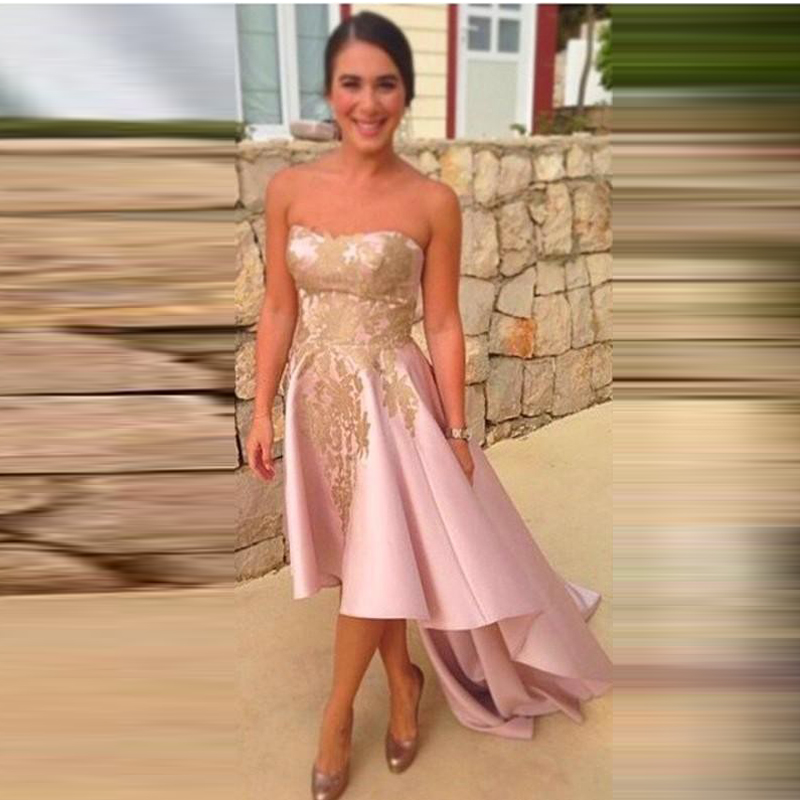 2016 Fashion Appliques Long Evening Dress Low/High Satin Floor-Length Abendkleider Vestidos De Fiesta Robe De Soiree Prom Dress(China (Mainland))