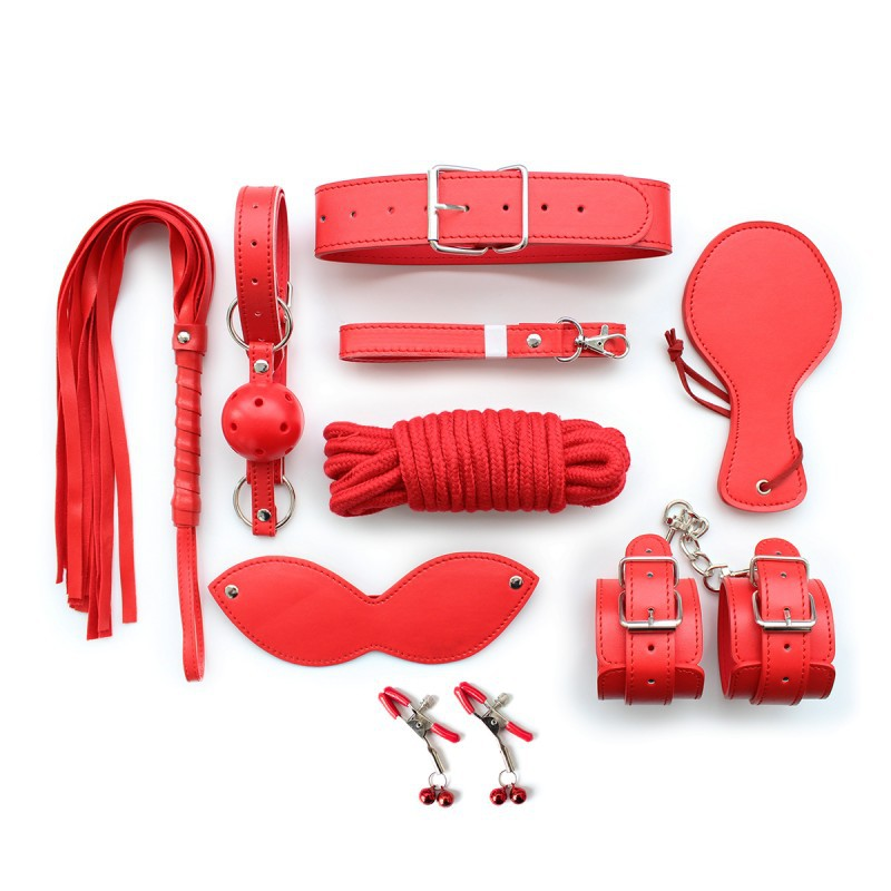 Red 10 pcs /Set Cuffs Gag Nipple Clamps Whip Collar Rope Mask Paddle PU leather Fetish Sex Couples <br><br>Aliexpress