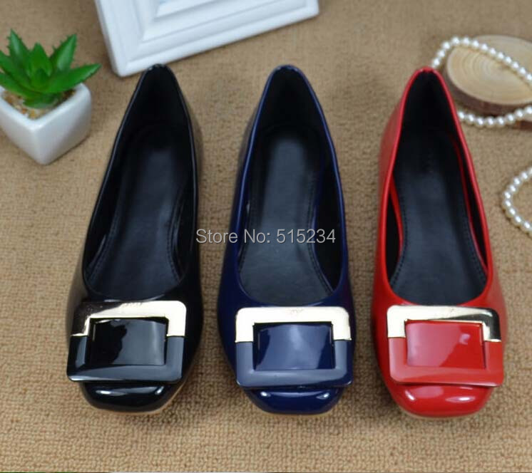 Square toe Women Flats Fashion Patent Leather shoes Shallow mouth Ballet Plus Size 35-41 - A chun's store