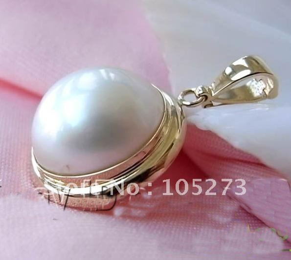 Huge 20MM White Color South Sea Mabe Pearl 14K Gold Pendent Beautiful Style Nice Womens Jewellery Hot Sale Free Shipping FN1876<br><br>Aliexpress
