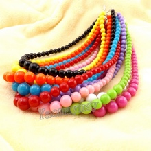 Multicolor children necklace, acrylic necklace mixed color, beaded necklace for promotion(China (Mainland))