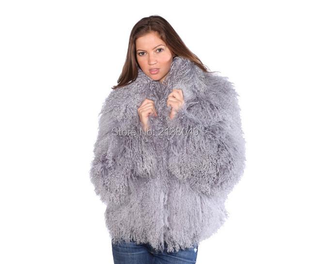 FC049 Топ продаж Лучшее качество Подлинная женщины зима Монгольский шерсти овечки пальто